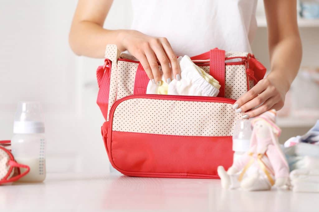 packing diaper bag, packing hospital bag for baby